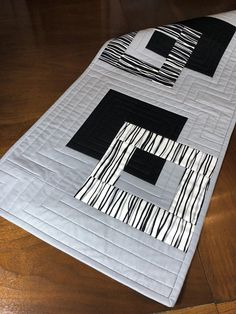 Modern Quilted Table Runner Black White and Grey Wallhanging