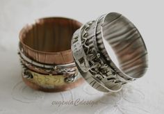 Cuffs with spinners in Sterling Silver & Copper. Workshop with Connie Fox.