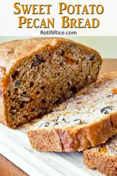 This Sweet Potato Pecan Bread was inspired by the fall/autumn favorite, candied sweet potatoes. It is a moist, fragrant , and delicious served warm. Fruit Bread, Banana Nut Bread, Banana Bread Recipes, Bread Cake, Dessert Bread, Dessert Recipes, Sweet Potato Bread, Sweet Potato Recipes, Bread Machine Recipes
