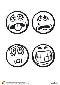 a colorier les émoticônes content rire bôbô et colère
