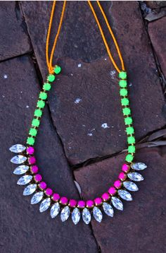 All your favorite bright colors come together on one beautiful necklace! Neon Navette Necklace - Lily Dawson Designs, $75.00 #handmade http://www.lilydawsondesigns.com/shop/necklaces/neon-navette-necklace/#