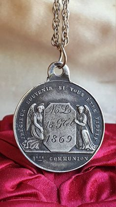 f44ba465560 Antique French Silver Engraved Communion Medal Art Nouveau First Communion  Engraved April 2, 1876 Catholic Jewelry Communion Gift