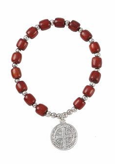 Silver Tone Saint St. Benedict Medal Cherry Wooden Bead Bracelet - 2.5 Inch >> Find out more details by clicking the image : Jewelry