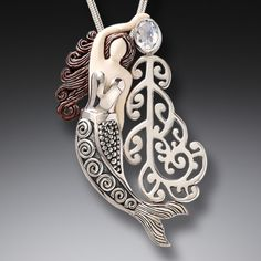 Ancient Mammoth Ivory and Moonstone Silver Mermaid Pendant - <b>Koru Mermaid</b>