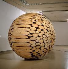 Lee Jaehyo, (untitled), sphere of cut timber, 2010.