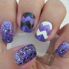 Purple Gradient Chevron by Iliana S. Watch this video tutorial and DIY this awesome nail art!
