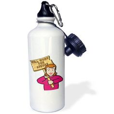 3dRose Funny Humorous Woman Girl With A Sign Will Work For Aprons, Sports Water Bottle, 21oz