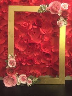 Gorgeous frame with 3d hand painted, hand rolled flower roses.