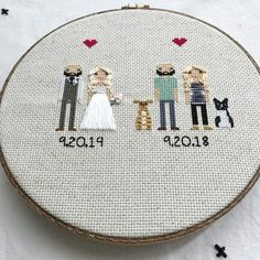 Anniversary Gift Cross Stitch Family Portrait Then and Now Cotton Anniversary Gift Wedding Couple Linen Anniversary Present for Her Gift for Cotton Anniversary Gifts, Anniversary Gifts For Couples, 2nd Anniversary, Homemade Wedding Gifts, Homemade Anniversary Gifts, Cross Stitch Family, Presents For Her, Wedding Couples, Gift Wedding