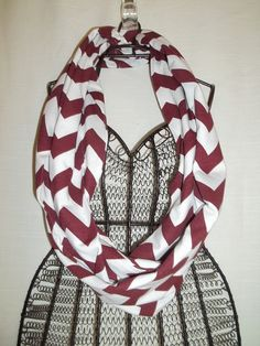 NEW Maroon and White Chevron Infinity Scarf by TheTKBoutique, $10.00