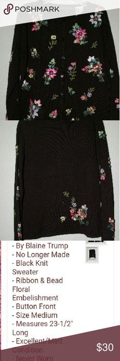 Floral Embellishment Button Up Sweater Condition NWT   Description full details are in pic #3 this button up is no longer available  on the QVC Style Network  and only a hand full of seller have this. This was bought by a older lady and giving to me but not my style or size. Would love this beauty to go to a great home. Very beautiful in person. Would make a great Christmas gift   Material 55% Acrylic 45% cotton Embroidery  75% nylon 14% acrylic 11% cotton Machine washable  Made in Hong Kong…
