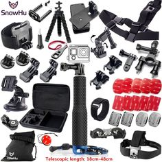>> Click to Buy << SnowHu for Gopro Hero 5 Accessories Set Helmet Harness Chest Mount Strap Monopod For Go pro hero 5 5S 4 3+ 3  xiaomi yi GS51 #Affiliate