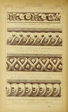 Architectural Drawing Patterns see site for more - 1915 - Vol. 2 - Materials and documents of architecture Architecture Classique, Classic Architecture, Architecture Drawings, Architecture Details, Ornament Drawing, Grisaille, Carving Designs, Ornaments Design, Architectural Elements
