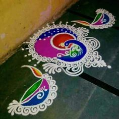 Beautiful and Easy Indian Peacock Rangoli Designs - Indian Fashion Ideas Rangoli Side Designs, Rangoli Designs Peacock, Easy Rangoli Patterns, Simple Rangoli Designs Images, Rangoli Designs Latest, Rangoli Colours, Free Hand Rangoli Design, Colorful Rangoli Designs, Beautiful Rangoli Designs