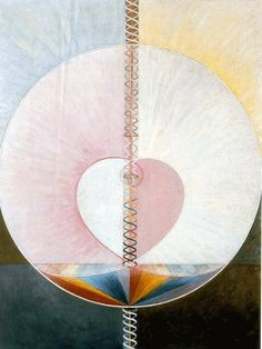 'What A Human Being Is' (1910) by Hilma af Klint (1862-1944). Hilma af Klint is regarded as one of the pioneers of abstract art. She was inspired by the new spirituality of the late 19th century and was very interested in the esoteric and occult. She wanted to visualize the possibility of a higher union between the opposites of the polarized world, such as male and female, light and darkness, striving for reconciliation of contradictions, for unity and totality. www.ritmanlibrary.com