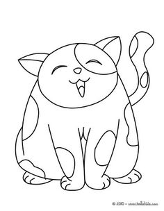 Big kawaii cat coloring page. Nice cat drawing for kids. More animals coloring pages on hellokids.com