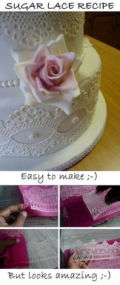 This is fantastic! You can make this in few minutes and the look like real lace! Plus they're edible and you don't have to remove it before serving ;-) Creative Cake Decorating, Birthday Cake Decorating, Cake Decorating Tutorials, Creative Cakes, Cookie Decorating, Decorating Cakes, Decorating Ideas, Fancy Cakes, Cute Cakes