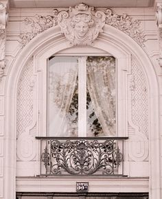 Ornate Pink Paris Window with Black Wrought Iron Balcony Amazing Architecture, Architecture Details, Paris Architecture, Belle Villa, Paris Apartments, Architectural Elements, Windows And Doors, Paris France, Parisian
