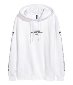 Check this out! Sweatshirt with a printed design and a lined hood. Dropped shoulders, long sleeves, and ribbing at cuffs and hem. Soft, brushed inside. - Visit hm.com to see more.