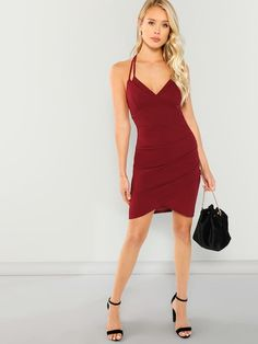 90ee900d9093 Double Strap Ruched Overlap Dress -SheIn(Sheinside) Dress P