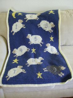 Aah-dorable Counting Sheep Baby Blanket: free crochet pattern - I am not this advanced yet but maybe one day