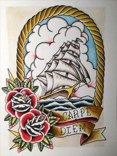 Original art clipper ship watercolor ph martins by Sean Dixon-Murray