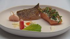 Confit Salmon with crispy skin Masterchef Australia, Salmon Skin, Grilling Sides, Salmon Fillets, All Vegetables, Vegetable Stock, Pumpkin Puree, One Pot Meals, Fish And Seafood