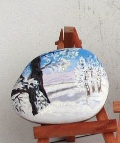 Inspirational winter scenery. hand painted natural river rock. birch tree…
