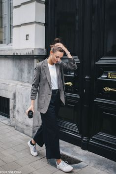 POLIENNE by Paulien Riemis | wearing ZARA tartan blazer, CLOSED tee, WEEKDAY trousers, PULL&BEAR bag in Antwerp, Belgium