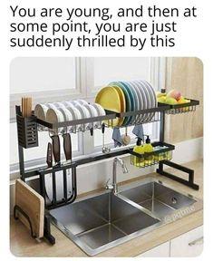 Kitchen Cutlery, Kitchen Dishes, Kitchen Shelves, Kitchen Tools, Kitchen Storage, Storage Spaces, Kitchen Ideas, Kitchen Rack, Kitchen Sinks
