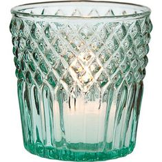 Wholesale Vintage Green Tealight Candle Holder (diamond top design).  2.75 inch diameter x 3 inches high. Our assortment of vintage glass just wouldn't be complete without this historic color. Our vintage green is reminiscent of heavily collected coke green depression glass.