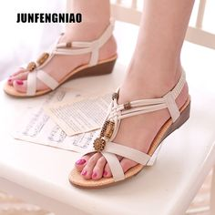 75ed2fa259426 2016 Summer women wedges sandals Velcro PU platform sandals Flower ...