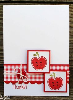 handmade greeting card ... red and white ... band of gingham print paper ... two matted imchies and a button form a triangle ... half apple images ... like the crisp look ... Stampin' Up!