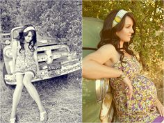Maternity shoot with vintage car