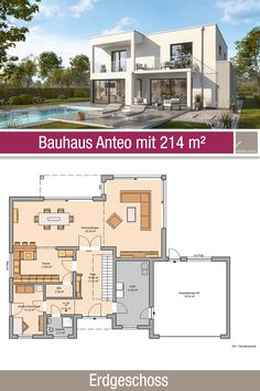 Bauhaus - Grundriss - 214 m² - 5 Zimmer - Erdgeschoss - New Ideas Baroque Architecture, Modern Architecture, Small House Plans, House Floor Plans, Living Haus, Architectural Features, Villa, Big Houses, Ground Floor