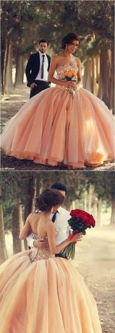 2017 Orange Ball Gown Wedding Dress for Women,Tulle Outside Layer Prom Dress,Sweetheart Prom Dress,Wedding Dress with Rhinestones,Sexy Backless Prom Dress
