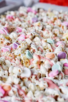 Conversation heart popcorn for Valentine's Day treats!