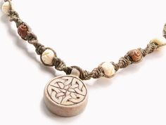 Celtic Knot Pendant, Hemp Choker Necklace - macrame spiral, high fired ceramic pendant, soapstone & bone beads, green hemp - hippie necklace - Liminal Horizons - liminalhorizons