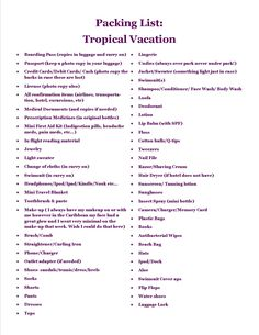 Perfect packing list for a tropical honeymoon Credit:http://misstomrsandeverythinginbetween.blogspot.com/2013/03/honeymoon-packing-list.html#!/2013/03/honeymoon-packing-list.html