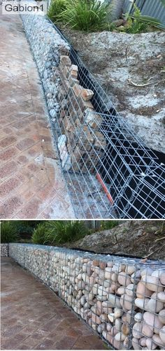 Gabion retaining wall - retaining wall filed with recycled rubble - Gabion retaining w Full Sun Landscaping, Shade Landscaping, Farmhouse Landscaping, Modern Landscaping, Front Yard Landscaping, Landscaping Ideas, Gabion Retaining Wall, Backyard Retaining Walls, Backyard Fences