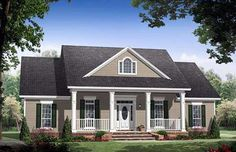 Country , Farmhouse , Traditional House Plan 59976 with 3 Beds, 2 Baths, 2 Car Garage Elevation Style At Home, Country Style House Plans, Simple Ranch House Plans, Farmhouse Plans, Country Farmhouse, Modern Farmhouse, Farmhouse Front, French Country, French Cottage