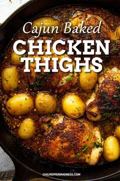 Cajun Baked Chicken Thighs Recipe - This mouthwatering baked chicken thighs recipe is seasoned with a Cajun blend, then seared and baked with peppers and potatoes for an easy anytime dinner. via @chilipeppermadness Spicy Chicken Recipes, Slow Cooked Chicken, Chicken Thigh Recipes, Cajun Recipes, Cooking Recipes, Cajun Cooking, Chicken Thighs, Casserole Recipes, Stuffed Peppers