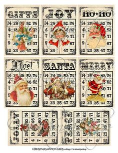 CHRISTMAS BINGO CARdS Collage Digital Images by iralamijashop