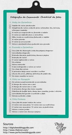 Checklist de fotos de casamento