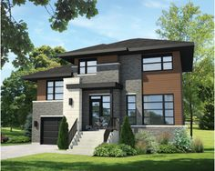 Two-storey house - 21233 Modern Floor Plans, Modern House Plans, Modern House Design, House Floor Plans, Modern Exterior House Designs, Building Design, Building A House, Modern Contemporary Homes, Modern Homes
