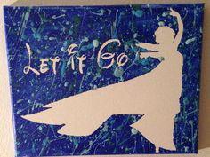 Silouette of Frozen's Elsa let it go canvas 8x10 by MissCraftyGG