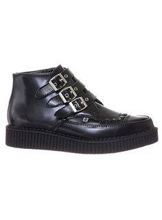 Creep It Cool Ankle Boots by T.U.K Shoes, BLACK, shoes,boots,punk leather ankle boots,platform creepers,platform punk shoes,black creeper boots,edgy buckled shoes,goth ankle boots