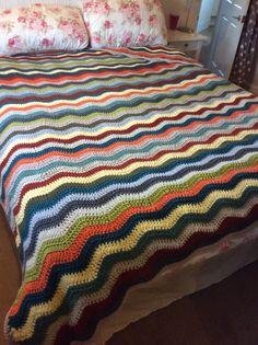 200x210cm £75 Sold Zig Zag Crochet, Crochet Bedspread, Bed Spreads, Comforters, Colours, Blanket, Furniture, Home Decor, Stuff Stuff