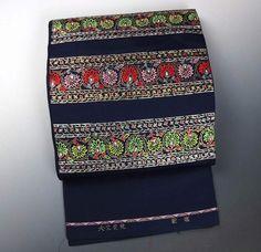 「龍村美術織物」謹製 高級本袋帯(お太鼓柄) 天竺花苑 深い紺系色