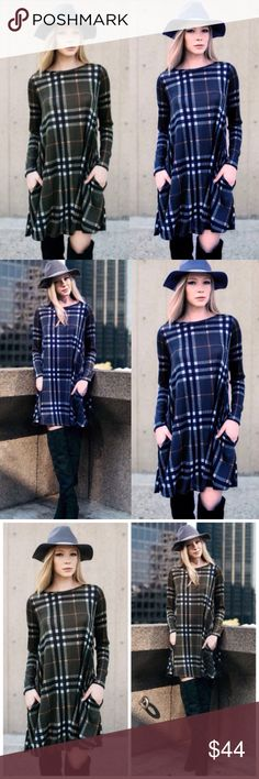 ❣️NEW IN❣️ Plaid Fall Dress with Pockets Swing Super cute fall dress! The plaid is so beautiful! Slightly sheer. Sizes S (0-4) M (6-8) L (10-12) XL (12-14). Brand new! Available in Olive and Blue, limited supply, grab before it's gone! Dresses Mini